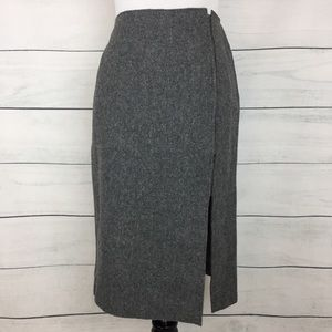 Jil Sander Gray Fleece Wool Pencil Skirt